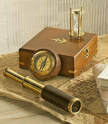 Wind & Weather® Telescope, Compass and Hourglass Gift Set