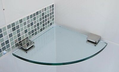200mm Glass Shower Shelf Round Corner  316 Stainless  Clamps