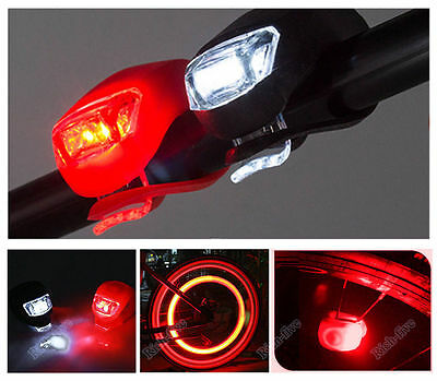 2X Silicone Bike Bicycle Cycling Head Front Rear Wheel LED Flash Light Lamp FS