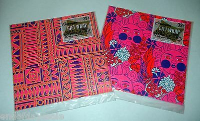 2 Pkgs Vintage 1960s Psychedelic Wrapping Paper Hot Pink Unopened