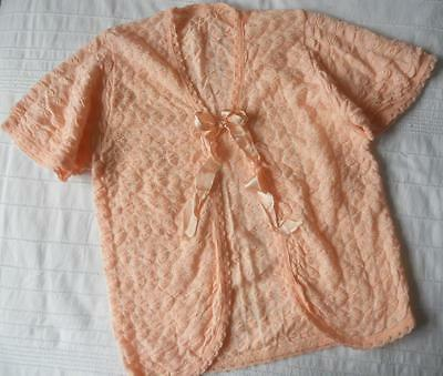Vintage 1930's 1940's Peach Pink Wool & Art Silk Knit Bedjacket Light Jacket