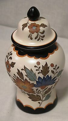 Vintage Gouda Flora Plateel Covered Pottery Vase Hand Painted Holland