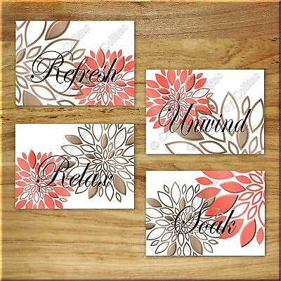 Coral Brown Bathroom Wall Art Prints/Picture Decor Floral Flower Refresh Relax +