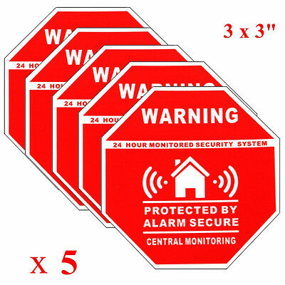 Home Alarm Security Burglar Decals Warning Signs Window Door Stickers 5pcs