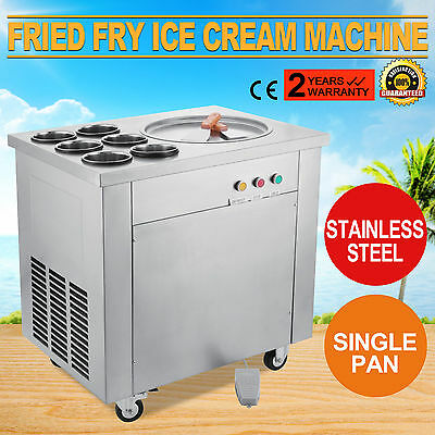 Fried Fry Ice Cream Maker Single Pot Machine Stainless Steel Fruit Milk 5 Up