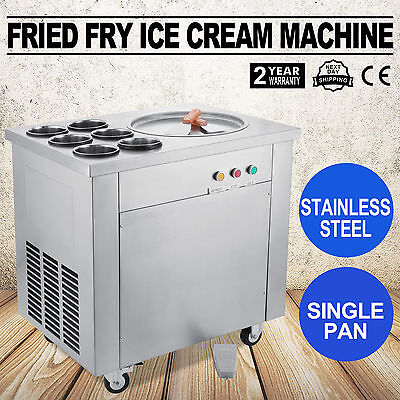 Fried Fry Ice Cream Maker Single Pot Machine Stainless Steel Fruit Milk 3 Up