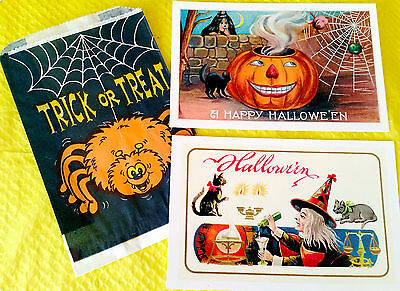 Vintage Reproduction HALLOWEEN PRINTS Found Image POSTCARDS Set of 2 New CARDS