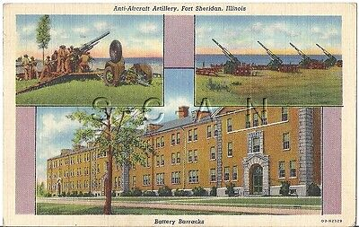 WWII Org Army PC- Battery Barracks- Fort Sheridan Illinois- AA Gun- Named- 1943