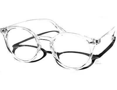TRANSPARENT FRAME CLEAR LENS GLASSES Rounded Hipster Retro Smart Nerd Retro New