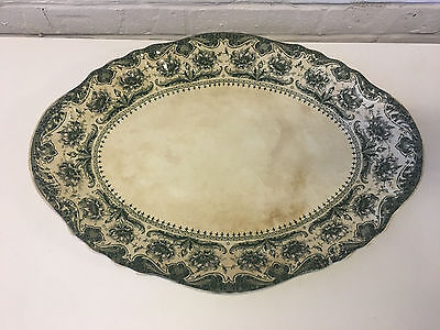 Antique Large English Dunn Bennett & Co. Green Transferware Platter / Tray