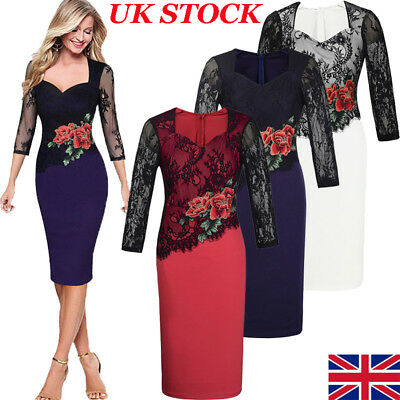 UK Womens Lace Long Sleeve Formal Bodycon Pencil Party Evening Cocktail Dress