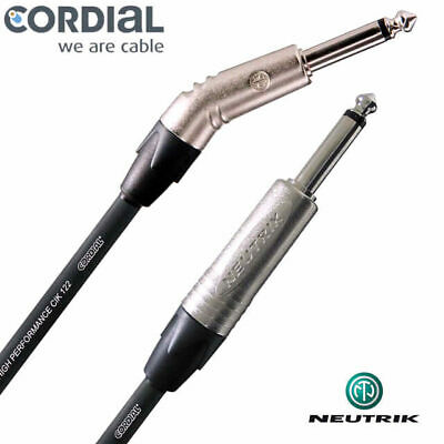 Cordial 10ft Guitar Cable 30 Degree Neutrik Jack Instrument Lead 3 metre