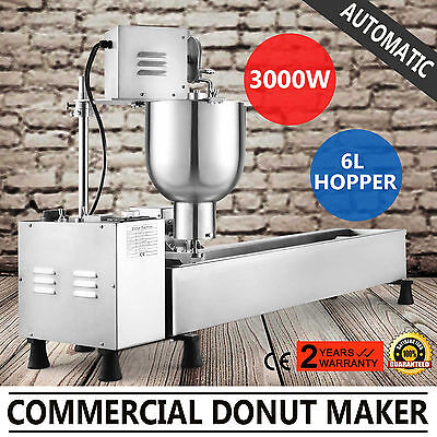 Automatic Donut Maker Making Machine 3 Sets Mold Commercial Wider Oil Tank