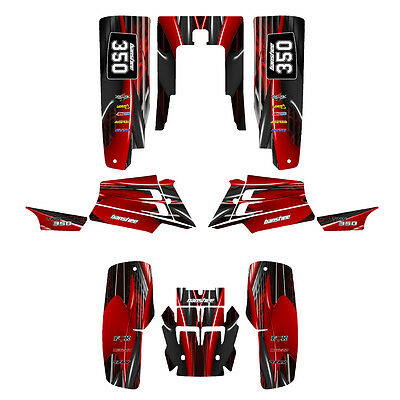 Yamaha Banshee 350 graphics full coverage custom sticker kit #3333 Red