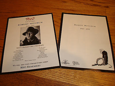 ROBERT MITCHUM 2 tribute ads 1917-1997 from RKO Pictures, MGM, United Artists