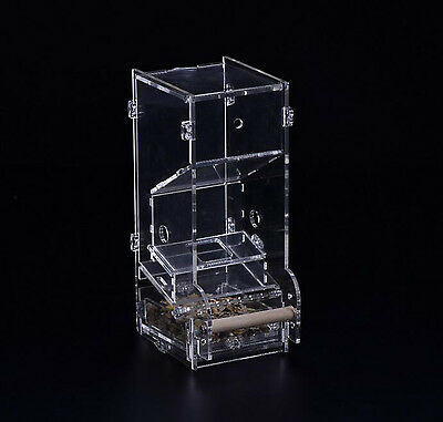 ClearAcrylic Pet Parrot Bird Automatic Tidy Cage Feeder Size Small Single Hopper