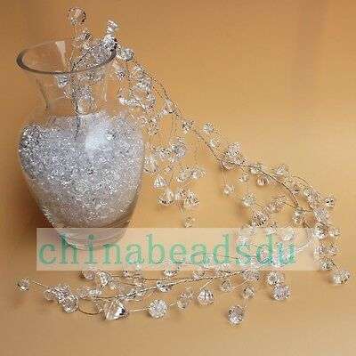 13/17/24MM Acrylic Crystal Stone Strings of Wire Beaded Garland Spray for Table