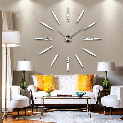 Modern DIY 3D Mirror Surface Large Number Wall Clock Sticker Home Decor Gift