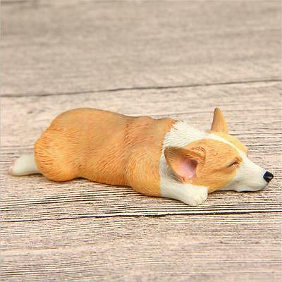 New Lovely Yellow Lying Welsh Corgi Action Figure Figurine Fridge Magnets Gift