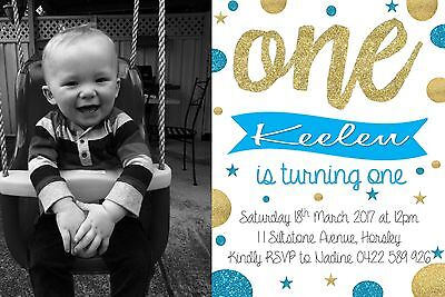 Boys Birthday One First Glitter Silver Blue Invite Invitation Party Spots