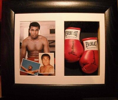 Muhammad Ali Mini Signed Boxing Gloves Framed