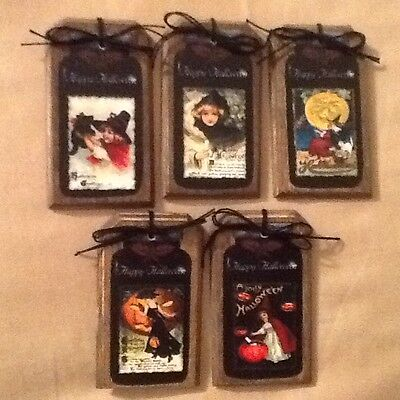 5 WOODEN Halloween Ornaments, Hang Tags,Gift Tags,Ornies HANDCRAFTED SetHh