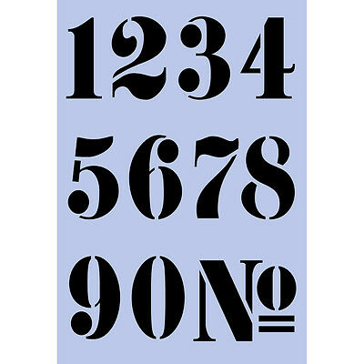 French Numbers Stencil A4 - 65mm (2 1/2 inches) high French Wall  re-usable 008