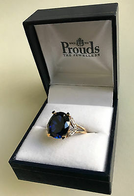 9ct Yellow Gold Ring, Created Blue Sapphire & Diamonds, Size Q, with box