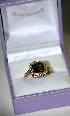 9ct Yellow Gold Ring, Smoky Quartz & Diamonds, Size P, with box