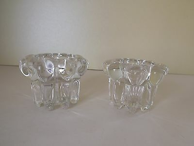 Pair of Glass Tealight Holders ~ Reims France