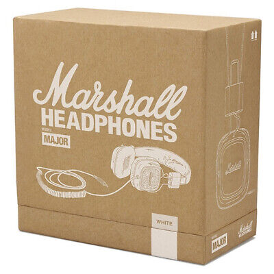 New In Box Genuine Marshall Major On Ear Stereo Bass Headphones Headset White