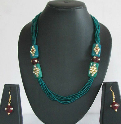Indian Fashion Jewelry Bollywood Bridal Kundan Bead Pearl Necklace Earrings Sets
