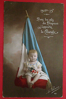 WW1 - 1914-15 Baby with French Flag, PC Unused but Stamped.