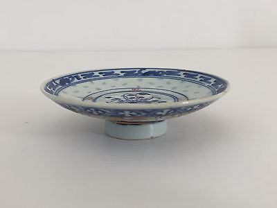 vintage very small porcelain asian footed blue dish