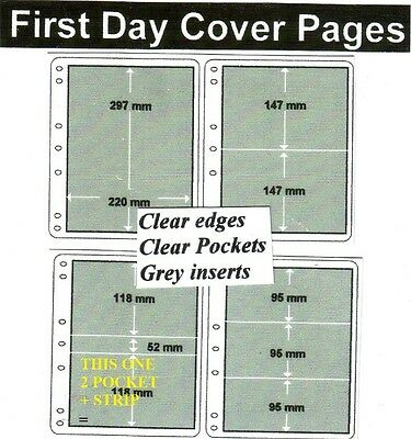 2 + strip pocket clear edge clear pockets grey First day cover pages pack of 10