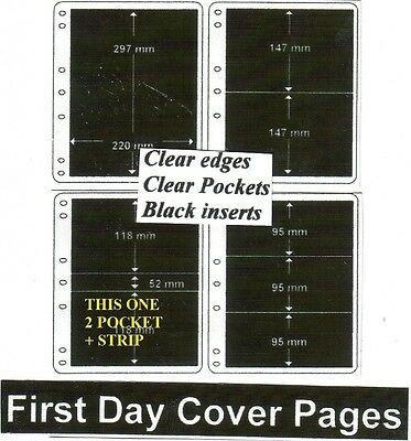 2 + strip pocket clear edge clear pockets black First day cover pages pack of 10