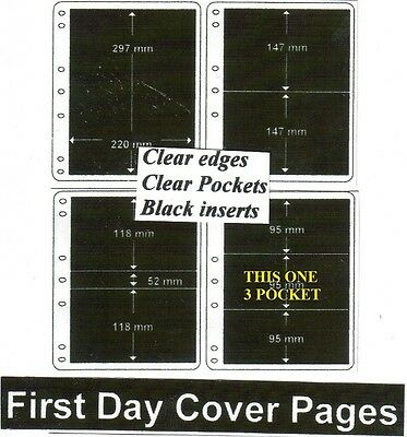 3 pocket clear edge clear pockets black First day cover pages pack of 10 fdc