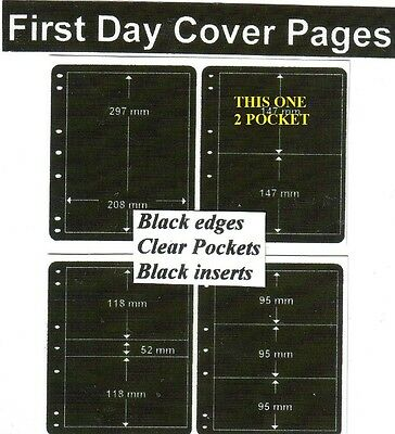 2  pocket Black edge & inerts clear pockets First day cover pages pack of 10 fdc