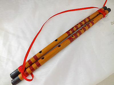 2 Chinese Bamboo Feng Shui Flute Harmony Happiness Wedding Bedroom Deco Marriage
