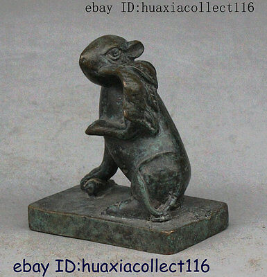 Folk Old China Chinese Fengshui 12 Zodiac Year Mouse Dynasty Seal Stamp Signet