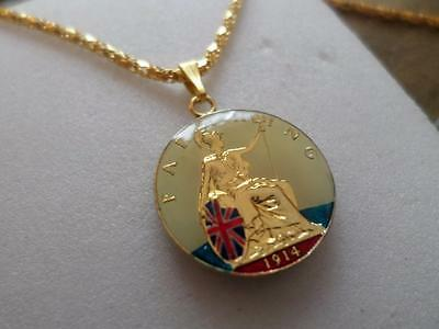 Vintage Enamelled Farthing Coin Pendant & Necklace. Great Birthday Gifts Jewelry