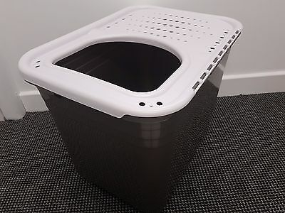 Petmate Top Entry Litter Tray Box Pan with Lid Hooded for Cat Kitten #01