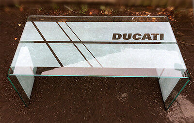 DUCATI logo badge decal glass coffee table-Diavel Hypermotard Monster Multistra