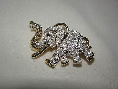 Vintage ROMAN Gold Tone Metal with Rhinestones Elephant Brooch Pin 1 1/2""