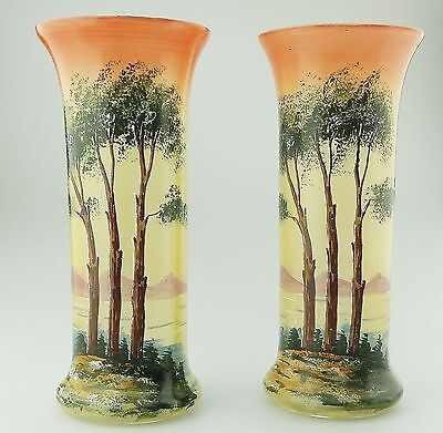 Antique Glass : A pair hand painted Vases C.1900
