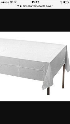40 x White Disposable trestle Table cloth covers 135x120cm Party Wedding Buffet