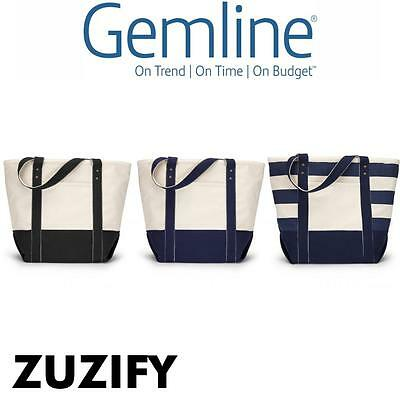Gemline Seaside Zippered Cotton Tote Bag. 1211