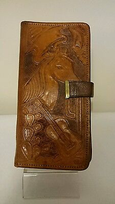 Western Style Tooled Leather Mexican Horse Guitar Aztec Wallet