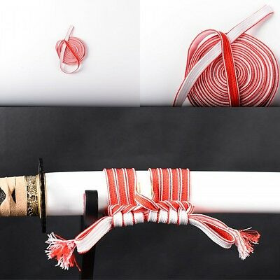 Red&White Silk Ito Sageo wrapped with Tsuka Saya For Katana Wakizashi Tanto