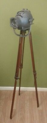 Vintage Ww2 Military Brass Wooden Light  Industrial Strand Tripod Lamp Theatre